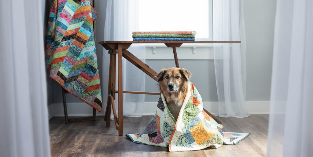 Batik quilt and dog in handmade artisan indonesian batiks